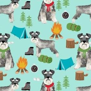 schnauzer camping fabric - dog dogs design tent sleeping bag dog fabric - mint