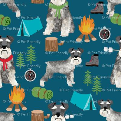 schnauzer camping fabric - dog dogs design tent sleeping bag dog fabric - dark blue