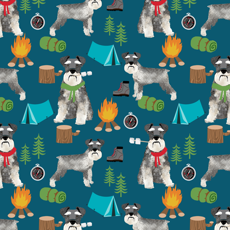 schnauzer camping fabric - dog dogs design tent sleeping bag dog fabric - dark blue fabric by petfriendly on Spoonflower - custom fabric