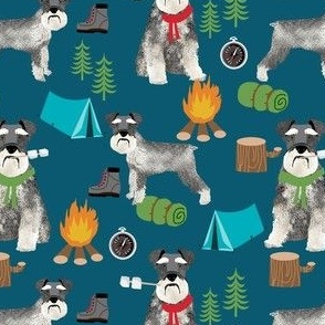 schnauzer camping fabric - dog dogs design tent sleeping bag dog fabric - dark blue