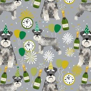schnauzer new years even fabric - fireworks holiday celebration design - grey