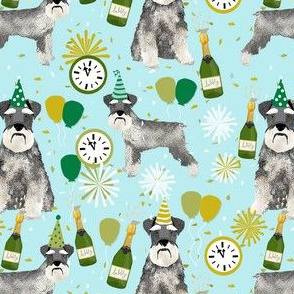 schnauzer new years even fabric - fireworks holiday celebration design - blue