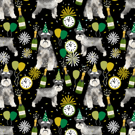 schnauzer new years even fabric - fireworks holiday celebration design - black fabric by petfriendly on Spoonflower - custom fabric