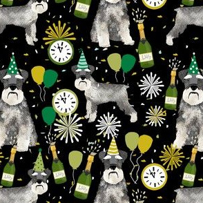 schnauzer new years even fabric - fireworks holiday celebration design - black