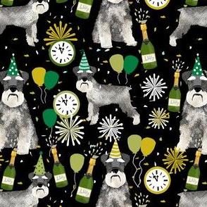 schnauzer new years even fabric - fireworks holiday celebration design - black