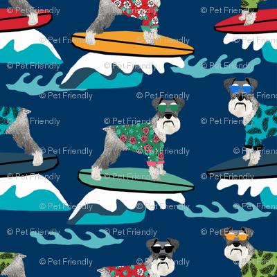 schnauzer surf fabric - surfing dog design - cute summer dogs - navy