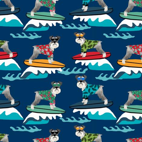 schnauzer surf fabric - surfing dog design - cute summer dogs - navy fabric by petfriendly on Spoonflower - custom fabric