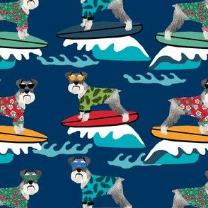schnauzer surf fabric - surfing dog design - cute summer dogs - navy