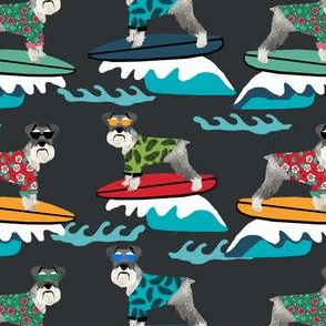 schnauzer surf fabric - surfing dog design - cute summer dogs - dark