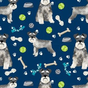 schnauzer dog toys fabric - dogs and bones design - cute dog breed design - blue