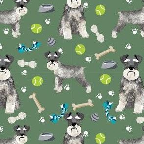 schnauzer dog toys fabric - dogs and bones design - cute dog breed design - green