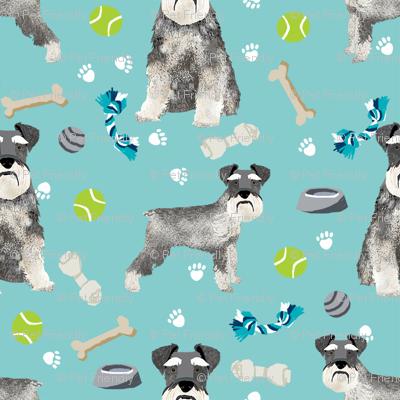 schnauzer dog toys fabric - dogs and bones design - cute dog breed design - light blue