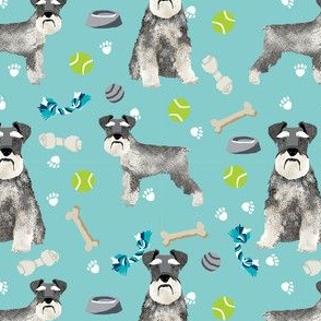 schnauzer dog toys fabric - dogs and bones design - cute dog breed design - light blue