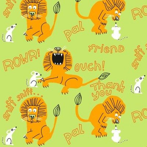 lion + mouse_wordy_celery green