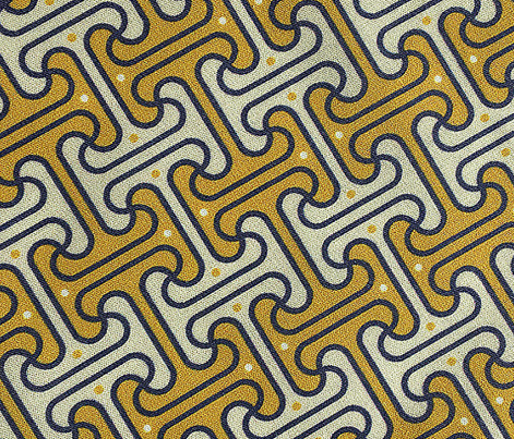Secret Passage* (Gold Marilyn) || Egypt Egyptian geometric meander interlocking polka dots optical illusion mustard