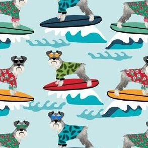 schnauzer surf fabric - surfing dog design - cute summer dogs - lite