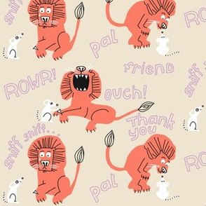 lion + mouse_wordy_pale pink