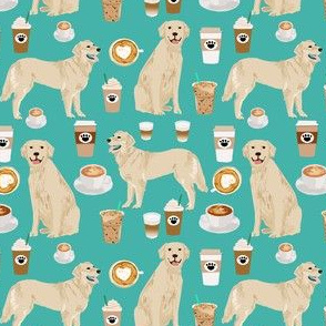 golden retriever fabric - turquoise - coffee fabric, coffee design (smaller)