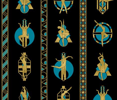 Dancing Art Deco Ladies Teal fabric by wickedrefined on Spoonflower - custom fabric