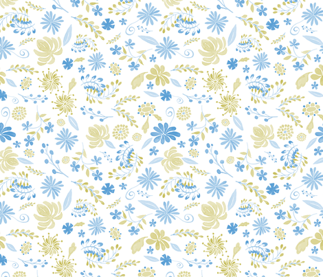 large-rose-bowl-mums-blue-gold-sf fabric by margiecampbellsamuels on Spoonflower - custom fabric