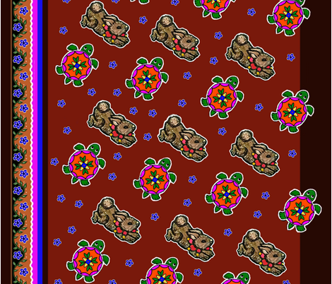 bunny and turtle fabric by munshi_design on Spoonflower - custom fabric