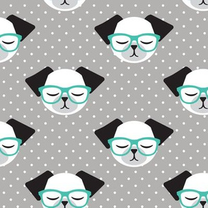dog with glasses - aqua on grey