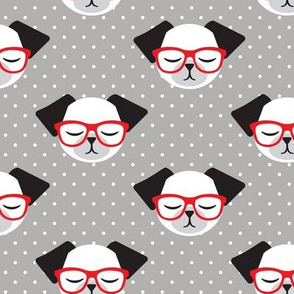 dog with red glasses - polka dots