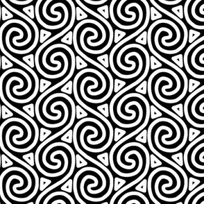 Black and White Spiral and Triangle Columns