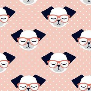 dog with glasses - polka peach