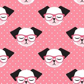 dog with glasses - pink polka
