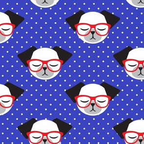 dog with glasses - blue and red polka