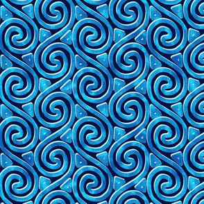 Mottled Blue Spiral and Triangle Columns