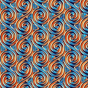 Mottled Blue and Orange Spiral and Triangle Columns