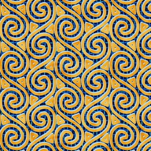 Mottled Yellow Spiral and Triangle Columns on Mesh