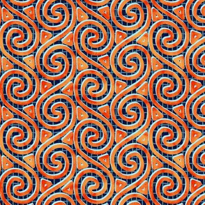 Mottled Orange Spiral and Triangle Columns on Mesh