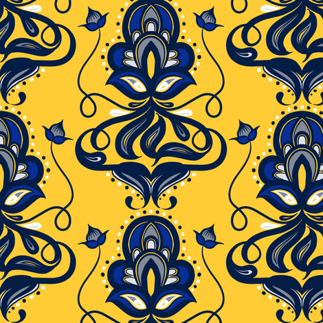 Varied Damask 3 fabric by jadegordon on Spoonflower - custom fabric