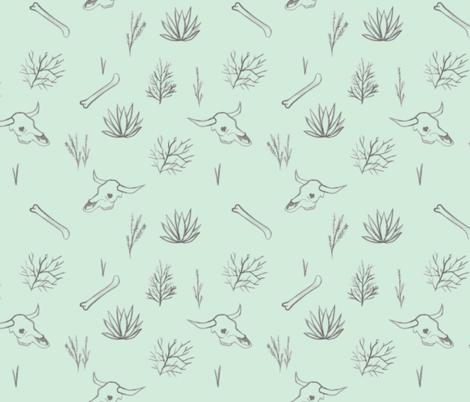 Desert Plants and Bones Mint fabric by lexalion on Spoonflower - custom fabric