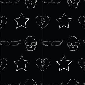 skull and star print black