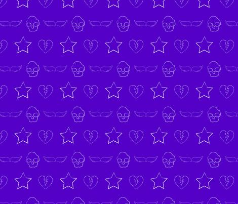 skull and star print  purple fabric by amethyst_designs on Spoonflower - custom fabric