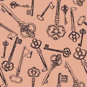 Stylized Antique Keys // Salmon Pink // Large