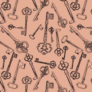 Stylized Antique Keys // Salmon Pink // Small
