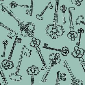 Stylized Antique Keys // Sky // Large