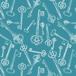 Stylized Antique Keys // Teal // Small