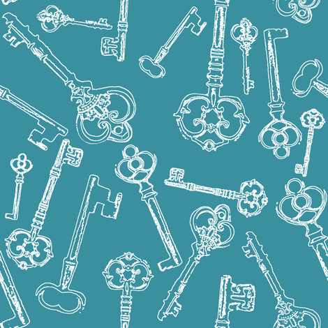 Stylized Antique Keys // Teal // Large fabric by thinlinetextiles on Spoonflower - custom fabric