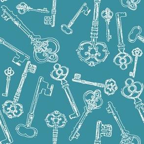 Stylized Antique Keys // Teal // Large