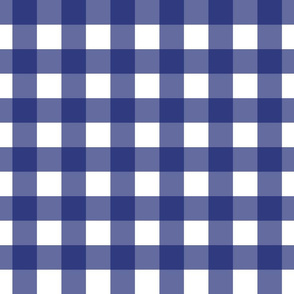 Prussian Blue + White Gingham by Su_G