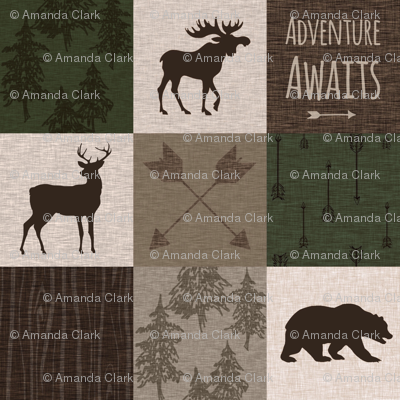 Adventure Awaits Quilt - Hunter Green and Brown