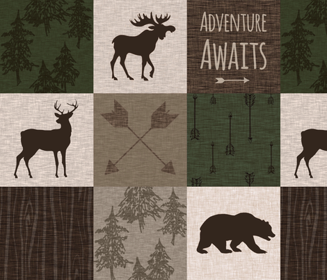 Adventure Awaits Quilt - Hunter Green and Brown fabric by sugarpinedesign on Spoonflower - custom fabric