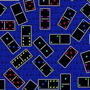 Black Dominoes Pattern - Blue