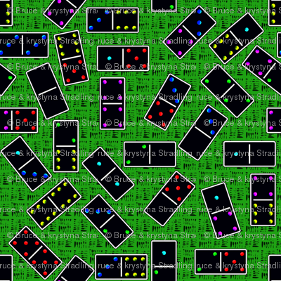 Black Dominoes Pattern - Green